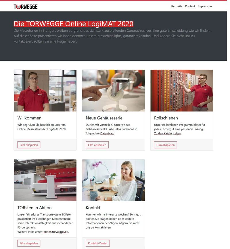 Virtueller Logimat-Messestand. Screenshot: logimat.torwegge.de