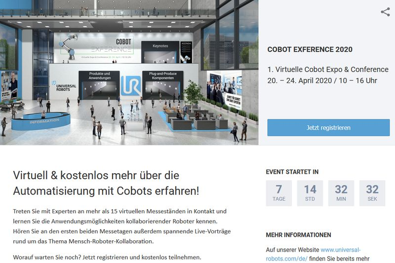 Virtuelle Cobot-Messe. Screenshot: reg.ubivent.com